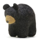 Ornament bear black felted