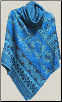 Poncho turquois cowl neck Caa